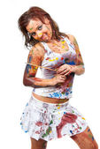 Girl smeared in paint — Stock Photo