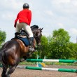 Rider jumping over the barrier — Stock Photo