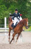 Jockey a cavalo — Fotografia Stock