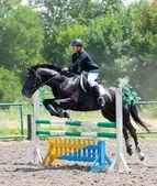 Jockey jumps over a hurdle — Stock Photo