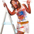 Happy gir smeared in paint — Stock Photo #4039264