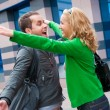 Two attractive young met in the street — Stock Photo