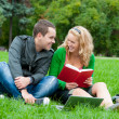 Two students relax and talking - Foto Stock