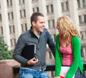 Two attractive happy students — Stock Photo