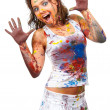 Stock Photo: Girl smeared in paint