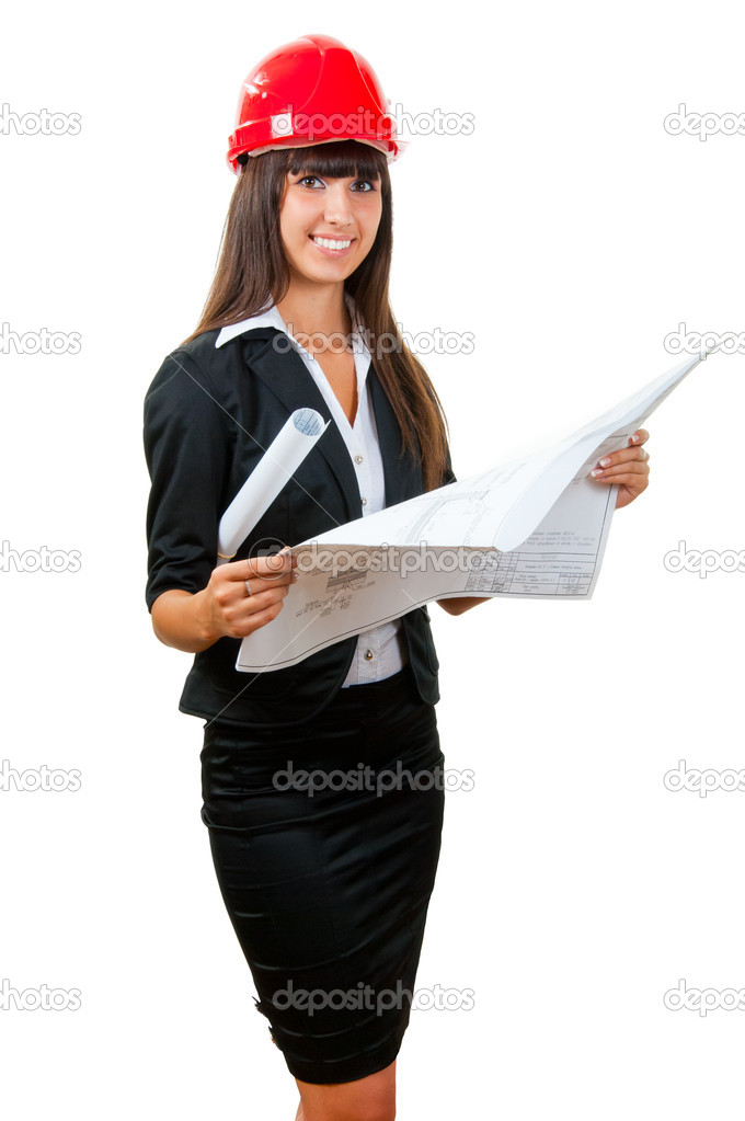 Young woman architect holding blueprints isolated over white — Stock Photo #4714258
