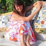 Young beautiful woman sunbathing — Stock Photo