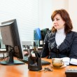 Business woman works — Stock Photo
