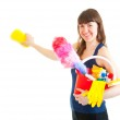 Young woman is ready for cleaning — Stock Photo