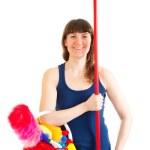 jovem mulher feliz cleaner é como um soldado — Foto Stock