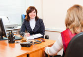 Business woman meets — Stock Photo