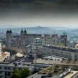 Panoramic view over est european town - Stock Photo
