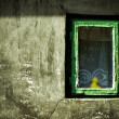 Abstract grunge image: duck-toy looking from window — Stock Photo