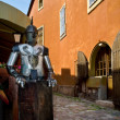 Stock Photo: Armoured knight holding blank shield