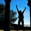 Stock Photo: Msilhouette expressing victory