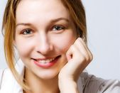 Smile of cute fresh woman with clean skin — Stock Photo