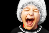 Portrait of a young boy screaming — Stock Photo