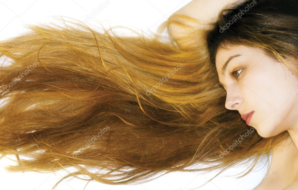 Portrait of a woman with long and beautiful hair — Stock Photo #4942391