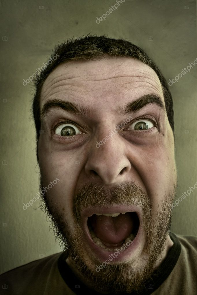 Screaming loud - Absolutely shocked and outraged guy — Stock Photo #4942477