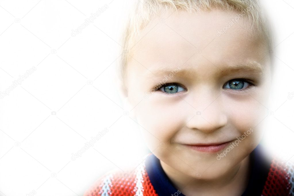 Portrait of smiling kid on white background  Stock Photo #4943066