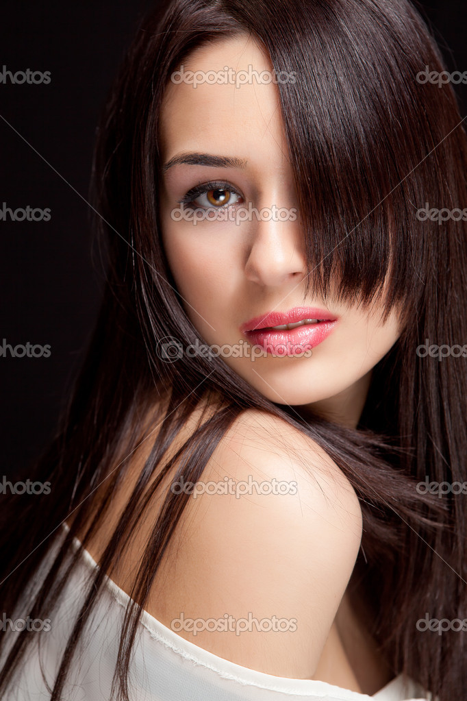 One beautiful woman with nice sensual hairstyle  Stock Photo #5060857
