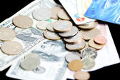 Money - bank notes, coins and credit cards — Stock Photo