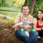 retrato de família - mãe-pai e filha de bebés — Foto Stock