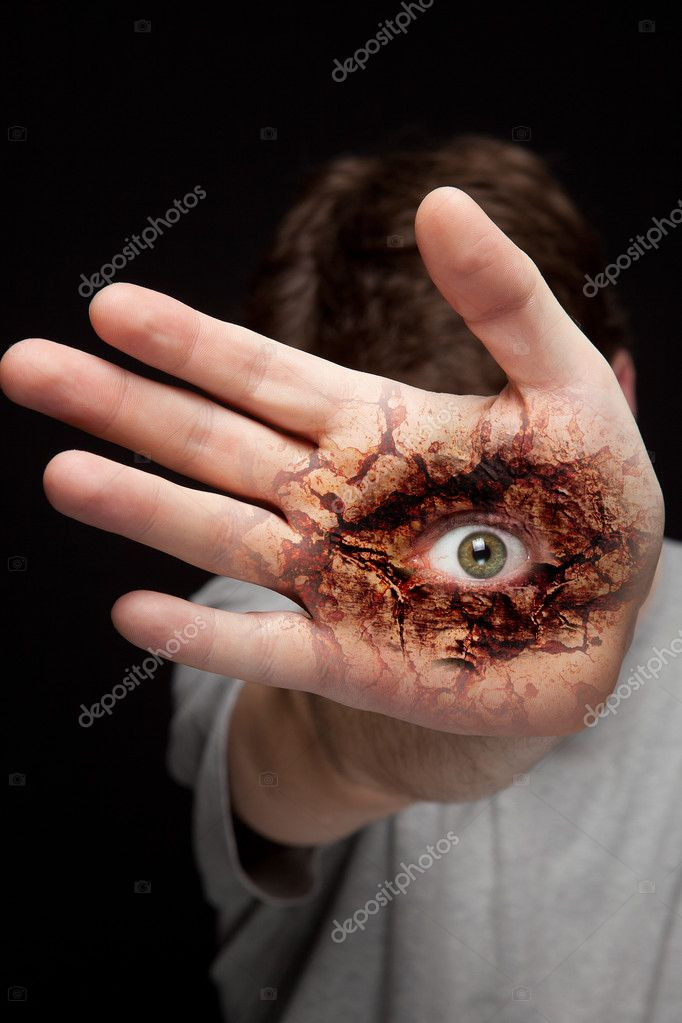 Eye on human hand - vision and identity concept — Stock Photo #5266632