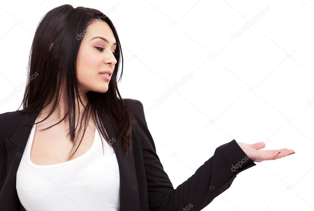 Isolated young business woman making a presentation  — Stock Photo #5266635