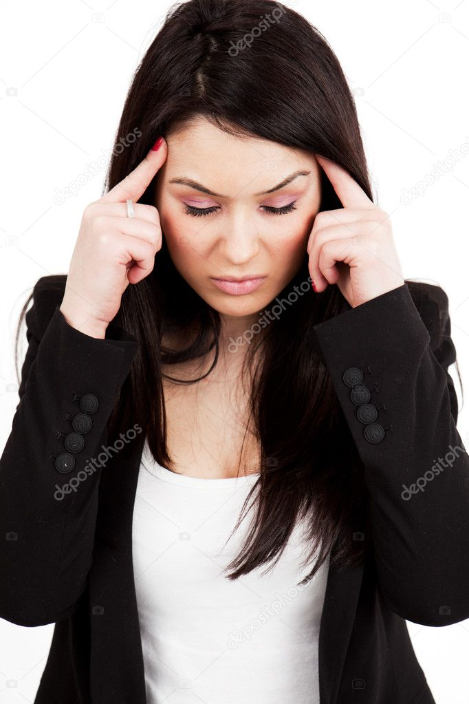 Headache or migraine concept - tired stressed woman — Stock Photo #5331034