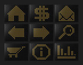 Navigation icons Led effect — Stock Photo