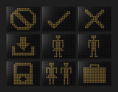 Navigation icons Led effect — Stockfoto