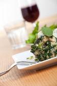 Strangolapreti, an italian dumpling with spinach — Stock Photo