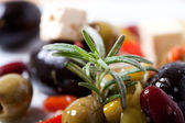 Closeup of mixed antipasti with rosemary — Stock Photo
