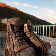Mountain shoes on a table — Stock Photo #5365479