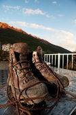 Mountain shoes on a table — Stock Photo