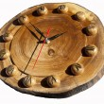 Wall clock made of wood — Stock Photo