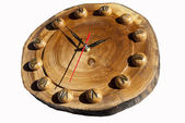 Wall clock made of wood — Stock Photo