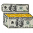 Chest made from hundred dollars with golden money inside — Stock Photo #4059296