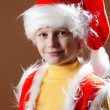 Little boy in Santa Claus suit — Stock Photo
