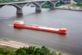 The big barge on river. — Stock Photo