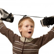 The little boy with the skates — Stock Photo