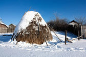 A haystack with snow. — Stock Photo