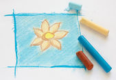 Fleur simple dessin au pastel — Photo