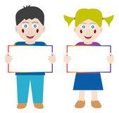 Happy children with blank banner — Stock Vector