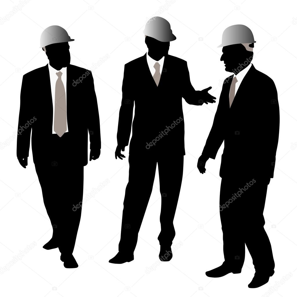 Three businessmen architects or engineers with a protective helmet walking and talking about new project. Isolated white background. EPS file available.  Stock Vector #4694734