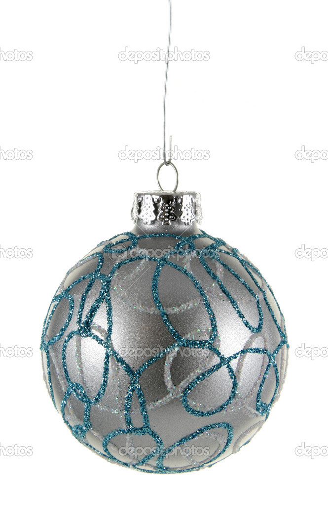 A single isolated decorated silver Christmas bauble hanging. — Stock Photo #4047818