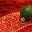 Sparkling Green Ball on Ribbon — Stock Photo