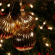 Stock Photo: Three Golden Xmas Baubles