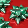 Closeup of Green Xmas Bows - Stock Photo